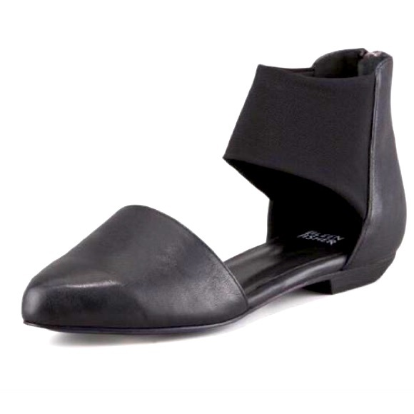 Eileen Fisher Allot Black Leather D'Orsay Flats